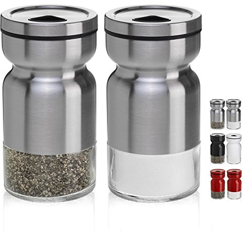 CHEFVANTAGE Salt and Pepper Shakers Set with Adjustable Pour Holes Stainless Steel