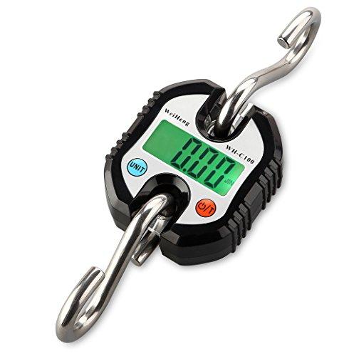 150kg100g01 Mini Portable Electronic Scale Digital Hanging Hook Scale Crane scale Balance LED backlight Black