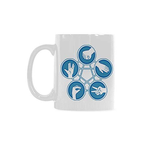 11 Ounces Rock Paper Scissors Lizard Spock Coffee Tea White Mugs Cup