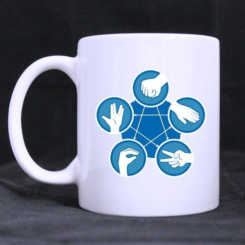 Best Funny Novelty Rock Paper Scissors Lizard Spock Theme Coffee Mug or Tea CupCeramic Material MugsWhite - 11oz