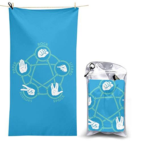 Printed Beach Towel Rock Paper Scissors Lizard Spock Super Absorbent Quick Dry Lightweight Microfiber Bath Towels for Travel Pool Gym