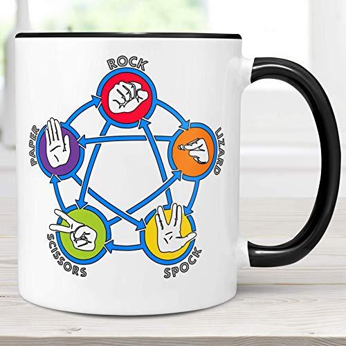 Rock Paper Scissors Lizard Spock Coffee Mug  Big Bang Microwave Dishwasher Safe Ceramic Cup