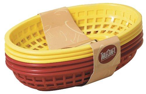 "Tcp Tablecraft 6 Piece Assorted Sandwich & Fry Basket Set, 9"", Red & Yellow"