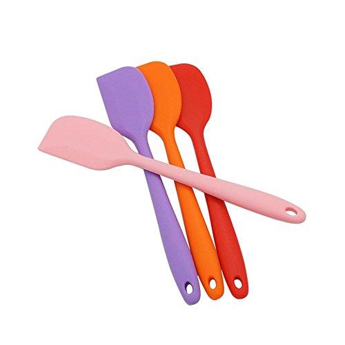 Interbusiness 4pcs 8 Inch Silicone Spatulas Heat Resistant Rubber Spatula Scraper Random Color