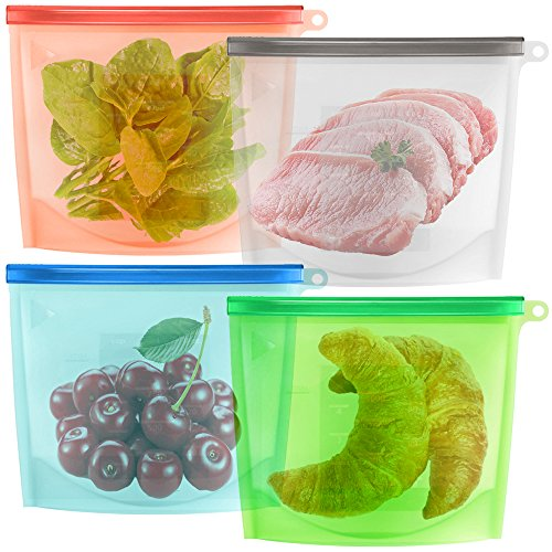 Reusable Silicone Food Storage Bag Set of 4 maxin Silicone Preservation Bag Airtight Seal Food Storage Container For Fruits Vegetables Meat Preservation Airtight Container Versatile Cooking Kitchen