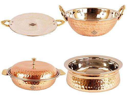 Indianartvilla Handmade High Quality Steel Copper Set Of 1 Kadai Karahi Wok 1 Handi 1 Donga Casserole 1 Tava For