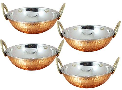 Stainless Steel Hammered Copper Serveware Accessories Karahi Pan Bowls For Indian Food, Set Of 4, Diameter 5.2