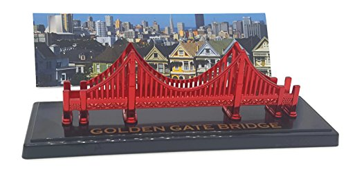 Golden Gate Bridge Model 6 x 2 With History On Bottom Side Clear Display Case Metallic