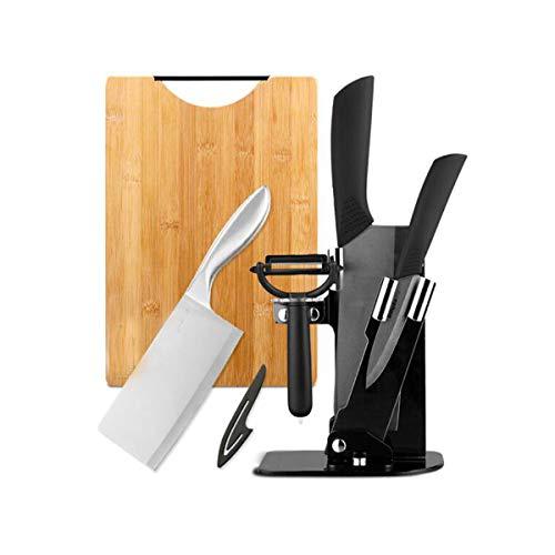 Hongyushanghang Knife Set 6 Sets Of Household Kitchen Knife Black Ceramic Knife Carbonized Bamboo Cutting Board Stainless Steel Kitchen Knife Set ,Comfortable and safe Color  Black