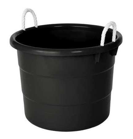 Storage Tub w Rope Handles 18 Gal Black