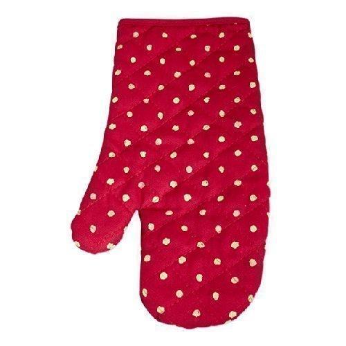 Red Spotty Single Oven Glove Mitt Heat Resistant Cotton Kitchen Home