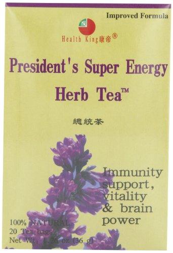 Health King  Presidnt Super Energy Herb Tea Teabags 20-Count Box Pack of 4