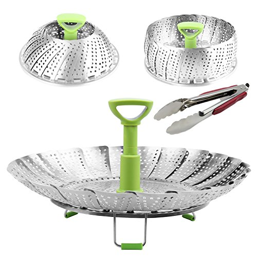 Collapsible Food And Vegetable Steamer Basket Tray 7 by 11 With Kitchen Tong 9- Good For Steaming Veggies Seafood Baby Food- Fits Many Pots Pans And Pressure Cookers