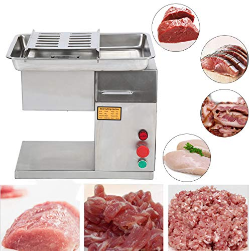 Yonntech Stainless Steel 550W Meat Cutting Machine Electric Meat Slicer Commercial Cutter Machine with 3mm Cutting Blade for Supermarket Market Restaurant Kitchen 110V