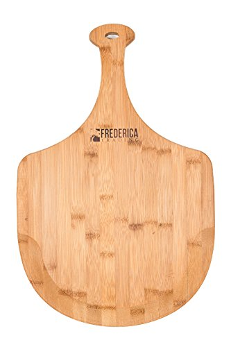 Premium Natural Bamboo LG Pizza Peel Paddle and Cutting Board For Pizza Fruit Vegetables Cheese - Large