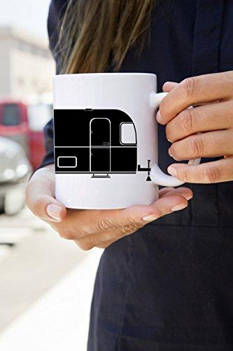 KillerBeeMoto US Made Vintage Camping Airstream Trailer Coffee Mug White