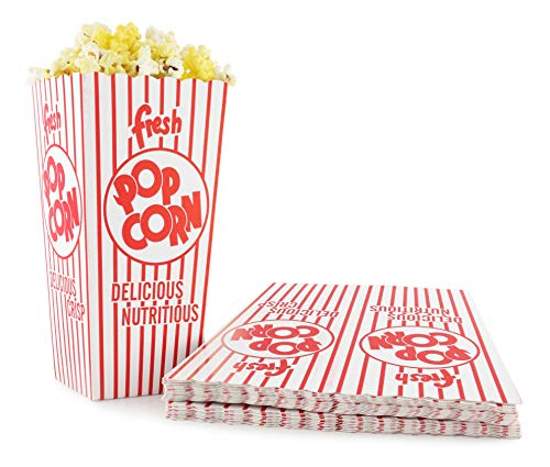 Snappy Popcorn 48-E Red and White Open Top Popcorn Boxes 175 Oz 500 Count