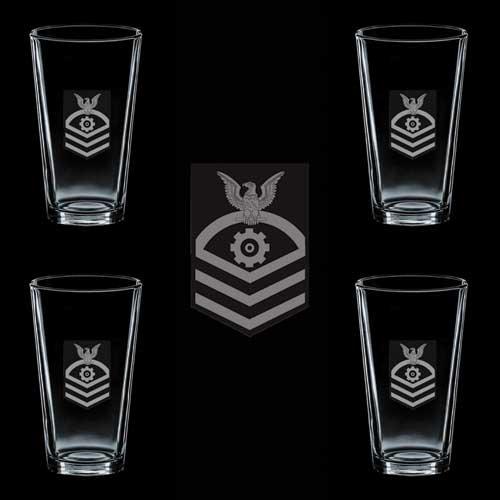 USCG Rank Chief Petty Ofiicer E7 Machinery Technician MK 4 GLASS SET