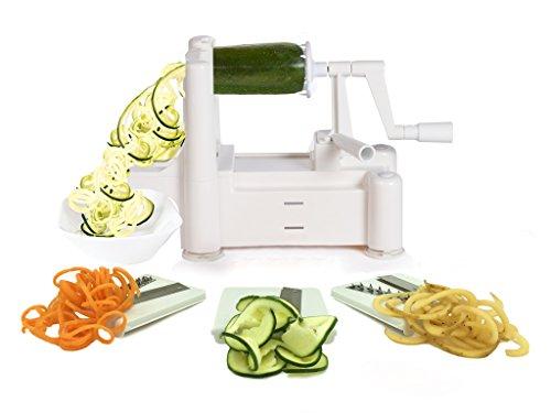 Spiralizer Tri-blade Vegetable Spiral Slicer, Strongest-heaviest, Best Veggie Pasta Spaghetti Maker For Low Carb