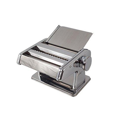 Plixio Stainless Steel Pasta Maker Roller Machine With Feeding Pan - Spaghetti, Fettuccine, Lasagna, Ravioli Maker
