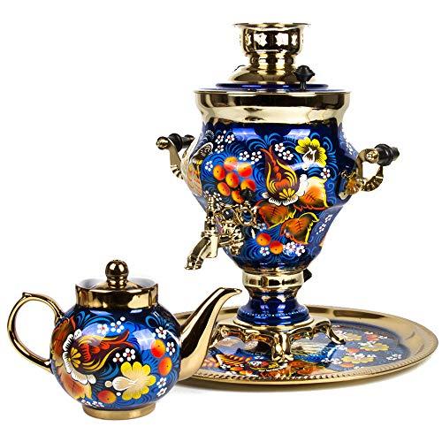 Blue Bird Electric Russian Samovar Set with Tray Teapot Tea Maker