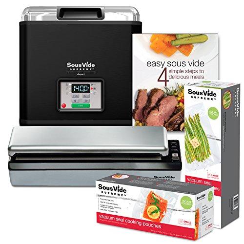 SousVide Supreme Demi Water Oven 9-Liter System Complete with Vacuum Sealer Cookbook and over 50 Sealer Bags- Black Enamel