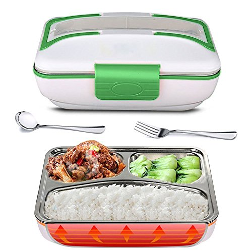 YOUDirect Electric Heating Lunch Box - Portable Bento Meal Heater Food Warmer Stainless Steel Plug Heating Food Container Leak-Resistant Reusable Electronic Food Boxes for Home Office Use 110V Green