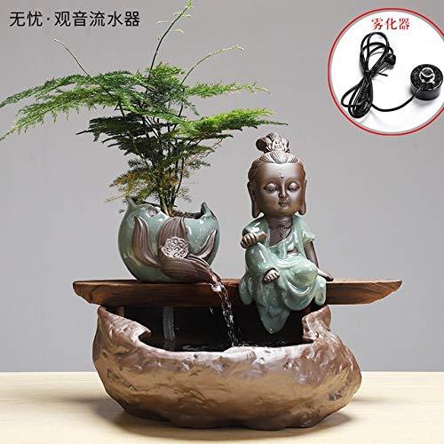 HONIC Creative Zen Fountain Water Heater humidifier Household Living Room TV Cabinet Decoration Bonsai Geyser Handicraft  864