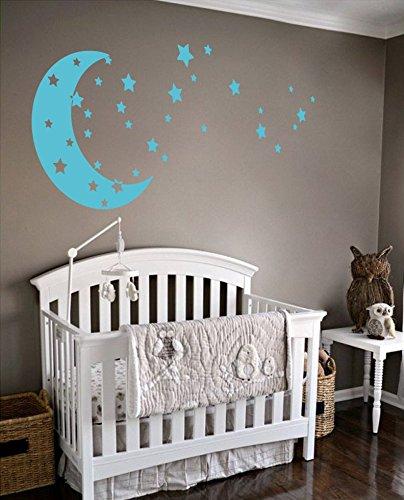 Moon and Stars Night Sky Vinyl Wall Art Decal Sticker Design for Nursery Room DIY Mural Decoration Geyser Blue 22x49 inches