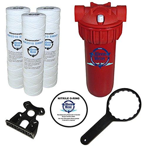 KleenWater Hot Water Filter 1 Mounting Bracket 1 5 Micron High Temp Cartridges 3 Spare Oring 1 Filter Wrench 1