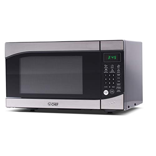 Commercial Chef CHM009 Countertop Microwave Oven 900 Watt 09 Cubic Feet Stainless Steel Front Black Cabinet Small Trim
