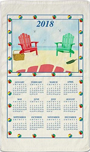2018 Kitchen Linen Calendar Towel with Dowel for Easy Hanging Adirondack Chairs at Beach