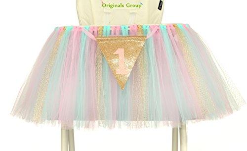 Originals Group 1st Birthday Originals Group 1st Birthday Frozen Tutu for High Chair Decoration for Party SuppliesTutu for High Chair Decoration for Party Supplies MintPinkGold