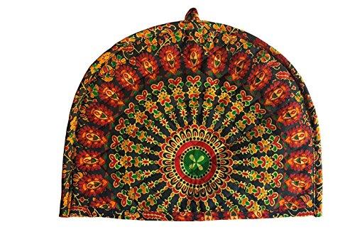 2 Cup Cotton Creative Tea Cosy Indian Mandala Yellow Tea Cozies Floral Print Warmer Home Decorative Tea Pot Cover A Peacock Feather Print Tea Cozy By Marudhara Fashion