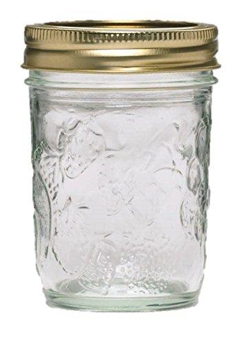 Ball Golden Harvest Regular Mouth Vintage Fruit Design Mason Jelly Jars 12 Pack 8 oz Clear