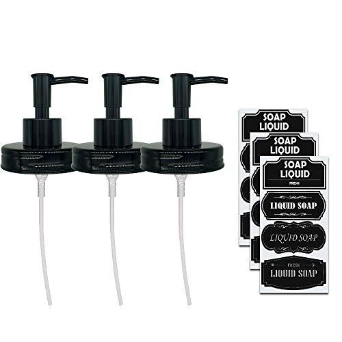 Elwiya RusticFarmhouse Mason Jar Soap Dispenser Lid and Pump Rust Proof Plastic Dispenser Lid for 16 oz Regular Mouth Mason Jar Decor - 3 Pack