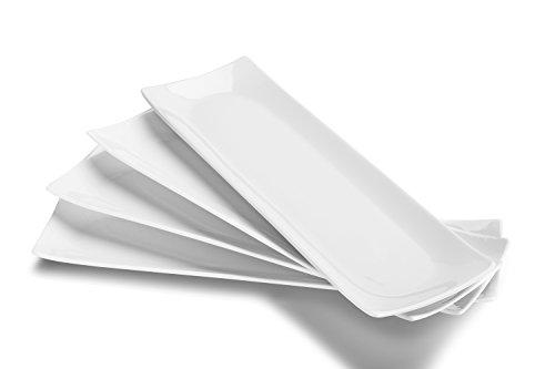 DOWAN 14-inch Porcelain Serving platesRectangular Platters Set of 4 Classic White