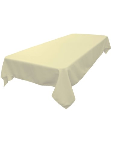 LA Linen Polyester Poplin Rectangular Tablecloth Ivory 60 x 84