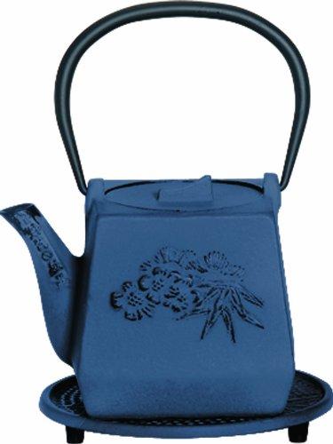 G&H Tea Services Otani Japanese Tetsubin 25-Ounce Teapot and Trivet Blue
