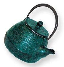Japanese Tetsubin Cast Iron Green Teapot with Trivet