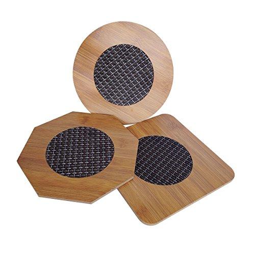 Saim Kitchen Hot Dishes Bamboo Trivet Mat Heat Resistant Pads Teapot Trivet Pack of 3 Multi3 in 1