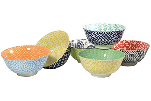 Certified International Large Cereal Soup or Pasta Bowls Chelsea Collection 61 Inch Set of 6 Assorted Designs
