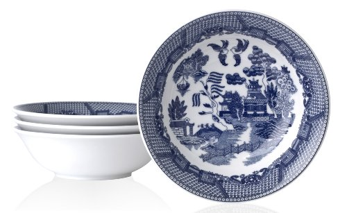HIC Blue Willow Cereal Bowl Fine White Porcelain 65-Inches 16-Ounce Capacity Set of 4