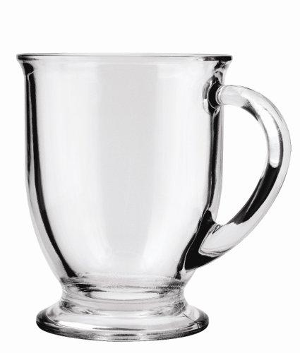 Anchor Hocking Café Glass Coffee Mugs Clear 16 oz Set of 6 - 83045A