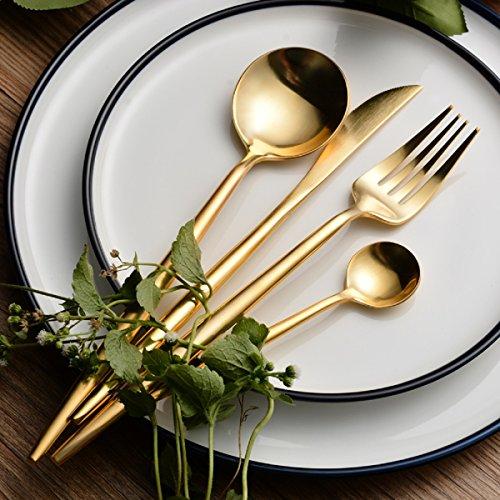 LEKOCH 4-Piece Stainless Steel Flatware Set 1 Including Fork Spoons Knife Tableware Golden