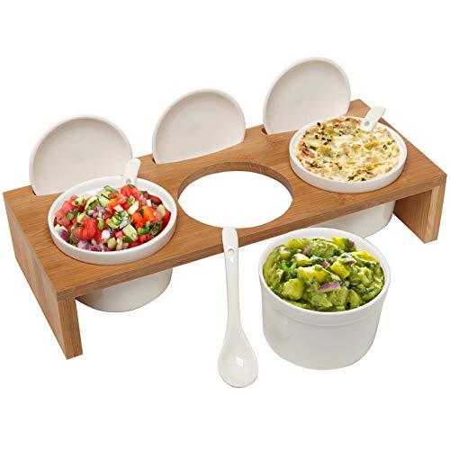 3 Pcs 35-Inch Ceramic Condiment Dip Sauce Ramekins Set wLids Spoons on Bamboo Sampler Serving Tray