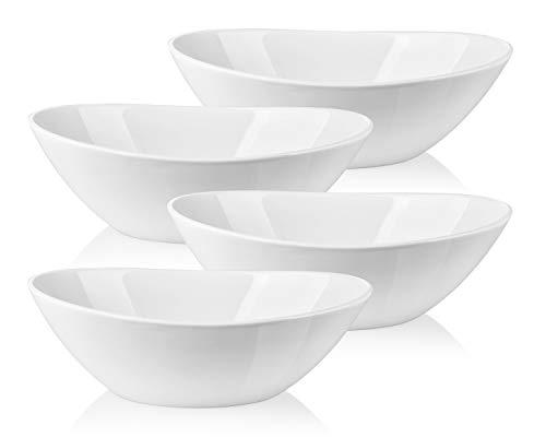 LIFVER 11 Quart Porcelain Serving Bowls for Salad Side dishes Soup Dessert Set of 4 White