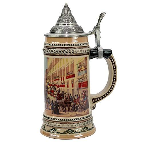 06 Liter Ceramic German Beer Stein with Metal Lid