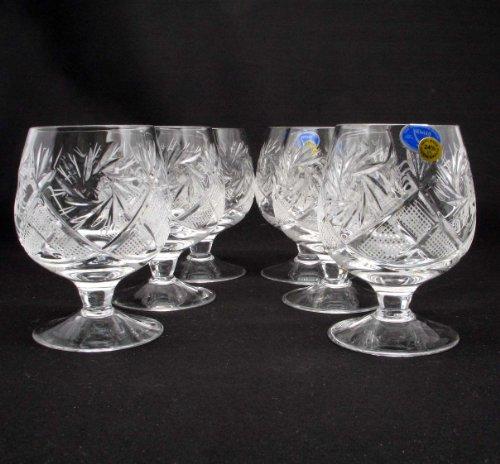 6 Russian CUT Crystal Cognac Snifters 200ml7oz Hand Made