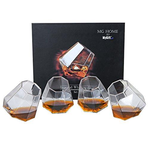 MyGift Tilting Whiskey Scotch Glass Diamond Shape Liquor Snifter 10oz Set of 4